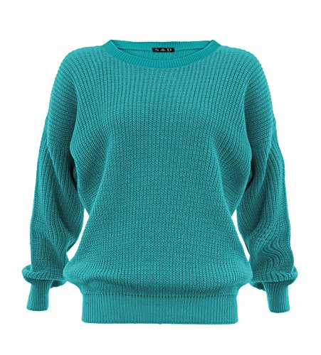 Style Divaa Women's Chunky Knitted Baggy Jumper - Turquoise - Medium / Large