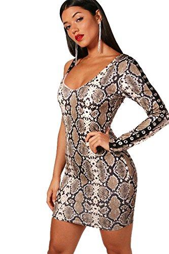 Natürlich Damen Sophia Snake Print Bodycon Dress