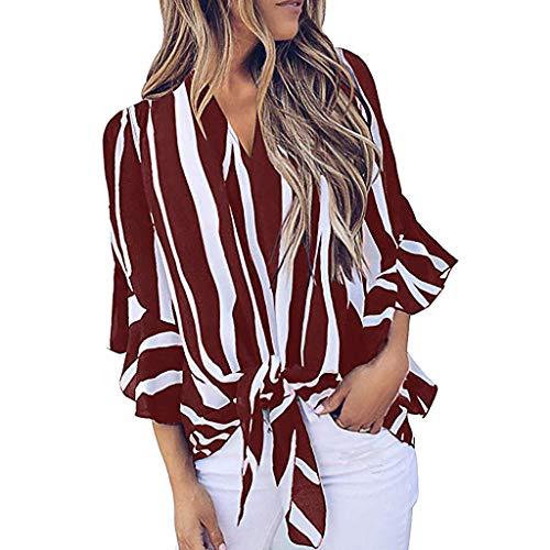 HET Fashion Damen Striped Loose Casual Tops V-Ausschnitt Glockenärmel Hemd Krawatte Knoten Sommer Blusen Top Shirt -