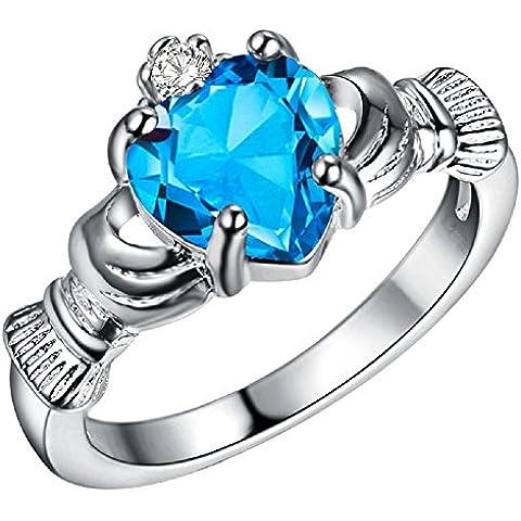 Bling fashion placcato argento 925sei nel mio cuore anello con luce blu gemma a forma di cuore