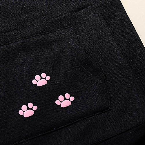 Wangyue Frauen Niedliche Känguru Tasche Hoodie Langarm Pullover Sweatshirt Schwarz01 M - 4