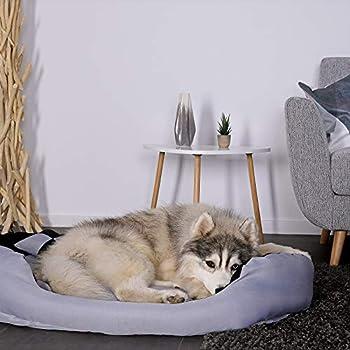 Dibea Lit,Coussin, Canapé Lavable avec Coussin Réversible pour chien, Gris et Noir, 85 x 70 x 20 cm