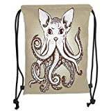 Best Home Styles Cat Foods - Drawstring Backpacks Bags,Octopus Decor,Octopus with Cat Head Illustration Review