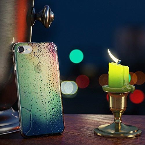 iPhone 8 / 7 Hülle Handyhülle von NICA, Slim Glitzer Silikon Motiv Case Crystal Schutz Dünn Durchsichtig, Handy-Tasche Back-Cover Transparent Bumper für Apple iPhone-7 / 8, Designs:Colored Bokeh Rainbow Drops
