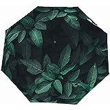 EW-OL-Automatic tri-fold umbrella Ombrello da Viaggio Automatico - Ombrelli Pieghevoli compatti con Impugnatura Antiscivolo - Piante da Giardino a Foglia Verde Fern Garden