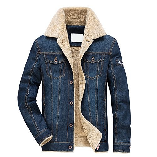 Jeansjacke Herren Winter Denim Jacket Gefütterte Jeans Jacke mit Fell Mantel Warme Winterjacke