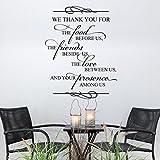 Wir danken Ihnen für die Lebensmittel Religiöse Zitat Bibel Vers Spirituelle Spruch Familie Gebet Vinyls Wand Aufkleber für Esszimmer Wand Decor