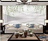 BHXINGMU Benutzerdefinierte Wandbild Schlafzimmer Sofa Wohnzimmer Tv Hintergrundbild Chinesischen Stil Weiden Kunstwand 280Cm(H)×400Cm(W)