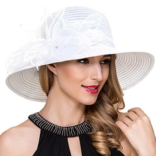 Ruphedy Damen Königliche Ascot Derby Cloche Hüte Britische Kirchen-Kleid-Tee-Party Eimer Hut S052 (Weiß)