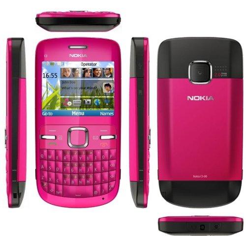 Nokia C3-00 Hot Pink schlankes Messaging-Handy mit QWERTY-Tastatur, integr. 2.0-MP-Digitalkamera, Email-Client & Internet-Browser, FM Stereo-Radio, Music- & Video-Player, Bluetooth®, WLAN, und microSD™ Speichererweiterung bis 8 GB
