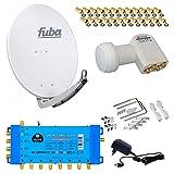 FUBA 8 Teilnehmer Digital SAT Anlage DAA780G + Opticum LNB 0,1dB FULL HDTV 4K + PMSE Multischalter 5/8 + 24 Vergoldete F-Stecker Gratis dazu