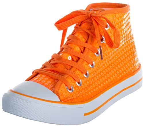 Brandsseller Damen Glitzer Sneaker Pailletten Halbhoch Damenschnürer Damenboots Orange 39