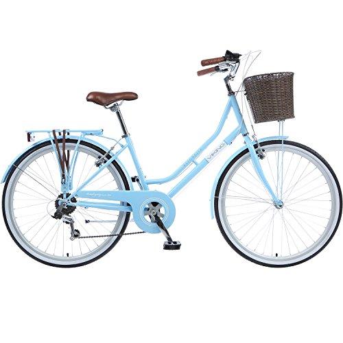 Galano 26 Zoll Cityrad Belgravia 6 Gang Damenfahrrad Mädchenrad Citybike mit Korb (Viking blau, 16 Zoll)