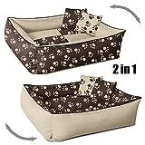 BedDog 2in1 MAX QUATTRO beige/marrone M, 70x55 cm, letto per cane M fino a XXXL, 9 colori a scelta, cuscino per cane, divano per cane, cestino per cane