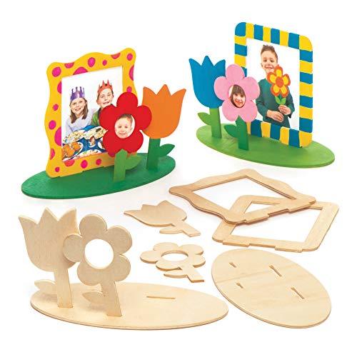 """Baker Ross Bilderrahmen-Bastelsets \""""Blumengarten\"""" aus Holz (4 Stück) - für Kinder zum Basteln, Gestalten und als Dekoidee"""