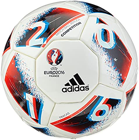 adidas Uefa Euro 2016 Competition Ballon de Match Officiel Homme, White/Bright Blue/Solar Red/Silver Metallic, Taille 5