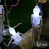Décoration Halloween , Morbuy Guirlande Lumineuse Halloween Decoration 10 LED Lumineuse Batterie Alimentation Squelette LED Changement de Couleur Humain Halloween Décoration d'Atmosphère (Blanc)