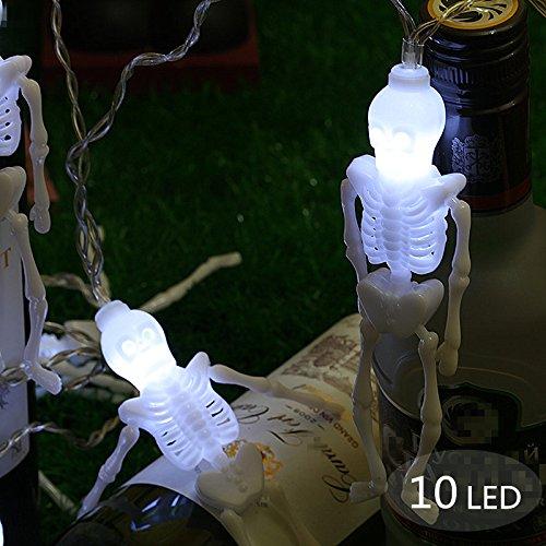 Halloween Deko Licht, Morbuy 10 LED Schädel Lichterkette Gruselige Schädel LED Lampen Batteriebetrieben Beleuchtung Bunte Leuchten Deko Perfekt Für Halloween-Dekoration (Weiß) (Gruselige Halloween Lebensmittel Für Erwachsene)