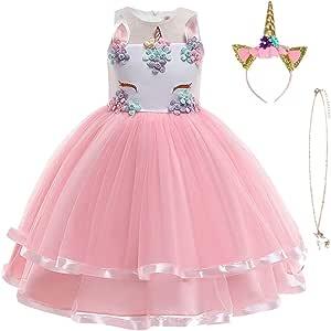 NNDOLL /® Bambina Unicorno Ruffles Fiori Festa Cosplay Abito da Sposa Vestito Girl Principessa