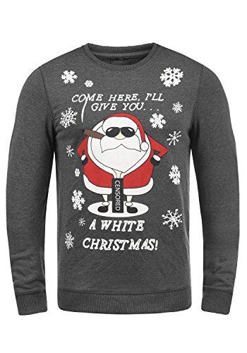 BLEND Santa Herren Weihnachtspullover Sweatshirt mit Print und Rundhals-Ausschnitt aus hochwertiger Baumwollmischung Charcoal/ Santa (75143)