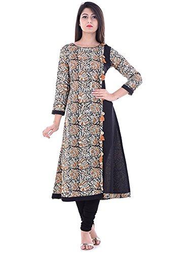 AnjuShree Choice Women's Cotton Kurta(Off-White Black_L - 40)
