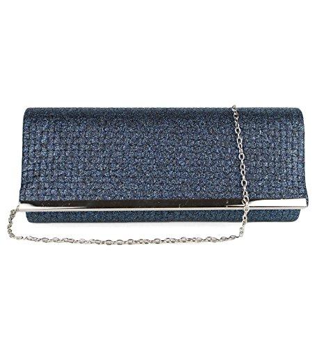 Schompi Elegante Damen Tasche Abendtasche Clutch Bag mit abnehmbarer Schulterkette Kettentasche Glitzer, Farbe:Blau (Glitter-abend-clutch Purse)