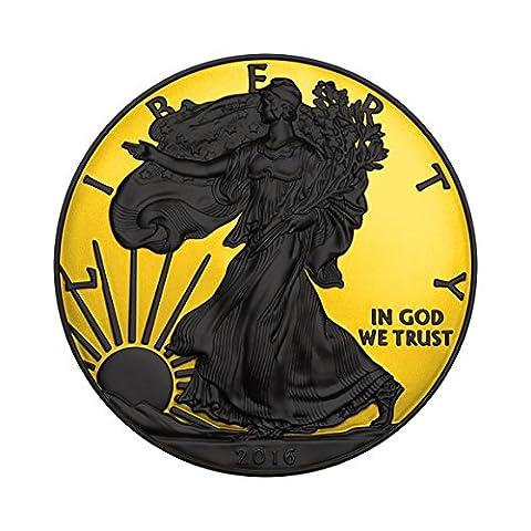 Gold Shadows - Walking Liberty $1 1 Unze Ruthenium und Gold überzogen Silbermünze - USA 2016
