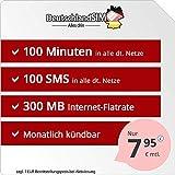DeutschlandSIM SMART 100 - monatlich kündbar (300MB Internet-Flat, 100 Frei-Minuten, 100 Frei-SMS, EU-Ausland inklusive, 7,95 Euro/Monat) Vodafone-Netz
