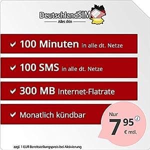 Sim Karte Monatlich Kündbar.Deutschlandsim Smart 100 Monatlich Kündbar 300mb Internet Flat 100 Frei Minuten 100 Frei Sms Eu Ausland Inklusive 7 95 Euro Monat
