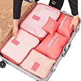 #9: Kurtzy Waterproof Cubes Travel Packing Luggage Cloth Organizer Storage Compression Pouch Laundry Zipper Bags (6 Set) Red