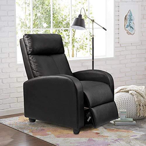 Homall Einzel lehnstuhl gepolsterte Sitz schwarz pu-Leder Wohnzimmer Sofa Recliner Moderne liegesessel Home Theater Seating (schwarz) -
