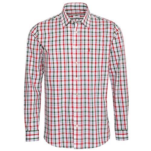 Almsach Herren Trachtenhemd Regular-Fit Trachten-Mode traditionell-kariert s-XXL viele Farben, Größe:XL, Farbe-Zweifarbig:Rot/Tanne