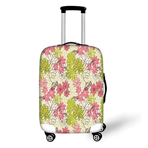 Travel Luggage Cover Suitcase Protector,Floral,Hand Drawn Pastel Petals in Vivid Contrast Nature Tone Blooming Image,Eggshell Pink Apple Green,for Travel M Apple Bottom Sneakers