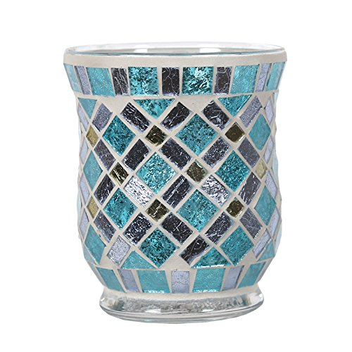 Aroma Blue Mirrored Hurricane Candle Holder
