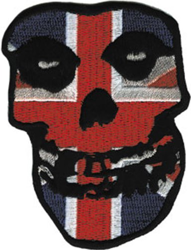 "MISFITS Application applicazione British britannico Skull cranio Patch toppa, Officially Licensed Products Classic Rock Artwork, Iron-On / Sew-On, 3"" x 2.5"" Embroidered ricamato PATCH"
