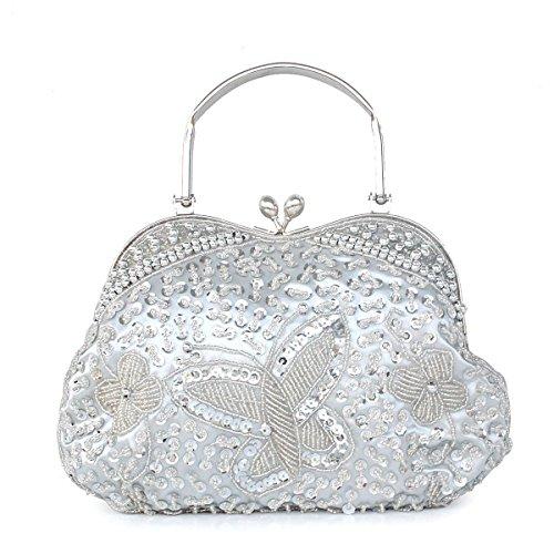 Tasche Braut Brautjungfer Silver Tasche Retro Nationaler Abendtasche Stil Tragbar Cheongsam Perlen Pack Klassisch Prinzessin Kleid Holding Pvp7qw