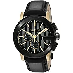 Gucci YA101203 - Reloj de cuarzo unisex, con correa de acero inoxidable, color negro
