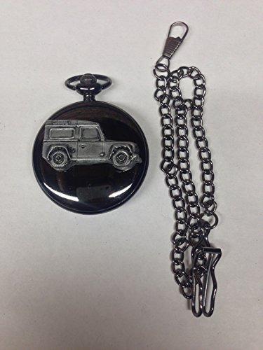 land-rover-defender-ref115-pewter-effect-emblem-polished-black-case-mens-gift-quartz-pocket-watch-fo
