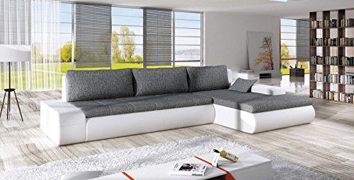 Ecksofa OSAKA IV mit Schlaffunktion Sofa Couch Schlafsofa Polsterecke Bettfunktion (ottomane rechts, kunstleder weiß / stoff INARI 91)