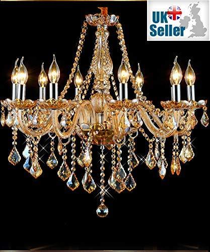 8012 Kristall-Kronleuchter Bernstein Golden 6 Lampen Kerze Hängeleuchte Marie Therese (6 Arme)