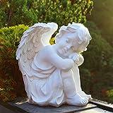 Engel Figur groß weiß Deko-Figur Sitzend Engelsfigur XL Garten Gartenstatue Skulptur Gartenfigur