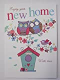 WONDERFUL COLOURFUL OWLS & BIRD HOUSE ENJOY YOUR NEW HOME GREETING CARD