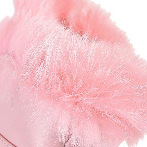 VogueZone009 Donna Punta Tonda Tacco Alto Bassa Altezza Colore Assortito Stivali Rosa