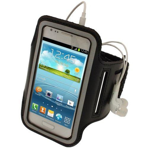igadgitz Schwarz Reflektierende Anti-Rutsch Neopren Sportarmband für Samsung Galaxy S3Mini i8190Android Smartphone Handy (nicht für Galaxy S3I9300geeignet)