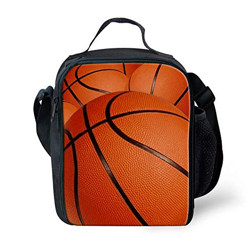 nopersonality Isolierte Lunch Tasche Cool Ball Muster Lunchbox Carry Tasche für Jugendliche Kinder, Schwarz Größe S Basketball Print2