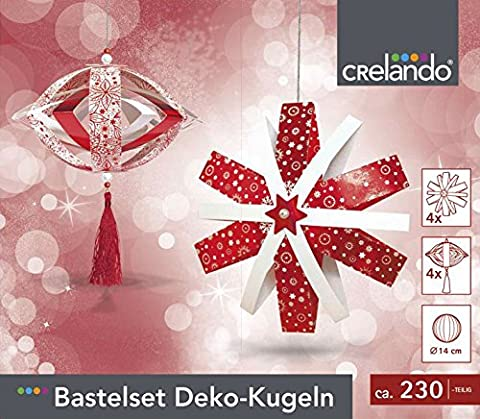 CRELANDO® Bastelset Weihnachtsschmuck, Deko-Kugeln Ø14cm, 230-teilig (rot)