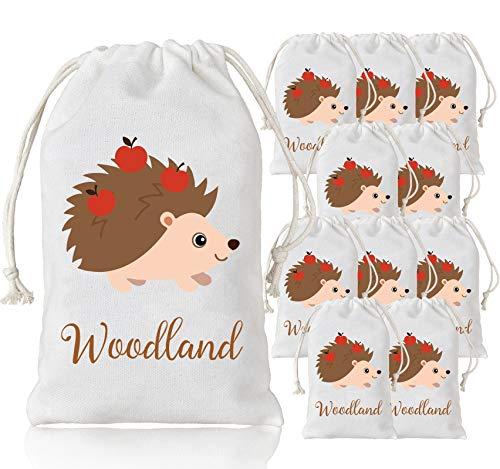 Jollyboom Woodland Party Taschen Animal Favor Geschenk Süßigkeiten Taschen für Kinder Wald Themen Geburtstag Party Supplies Igel 10 Paket