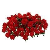 SODIAL(R) 100 x Kuenstliche Bluetenkopf Rosen Dekoration Rosenrot DIY Hochzeitsfeier Taufe rot