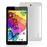 Jcw Tablette tactile téléphone débloqué - Port carte sim puce 3G Cellular - Ecran 7 pouces -Google Android 4.4 Kitkat - Dual Core, double caméra, Bluetooth, Wifi, 4 GO - Couleur Argent