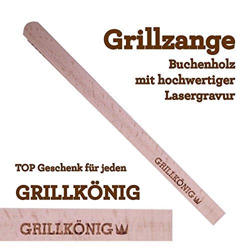 Grillzange Aus Holz Mit Hochwertiger Gravur Grillknig